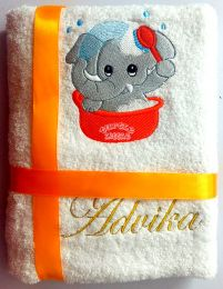 Bathing Baby Elephant Personalised Luxury Towel