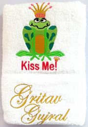 Kiss Me Frog Personalised Luxury Towel