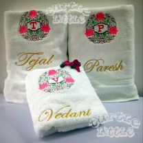 Floral Emblem with Name Initial Couple Set (2 Towels)