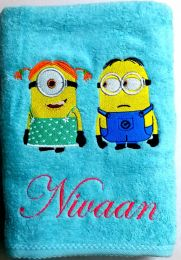Minions Boy & Girl Personalised Luxury Towel