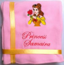 Princess Bell with Rose Luxury Personalised Kids AC Blanket