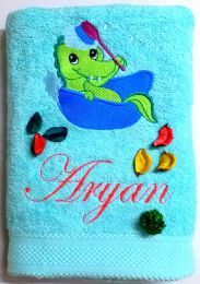 Bathing Baby Crocodile  Personalised Luxury Towel