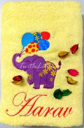 Baby Elephant with Party Baloons, Personalised Luxury Towel