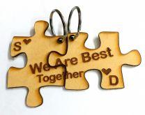 Jizsaw Puzzle Personalized Wooden Couple Key Chain Set