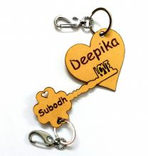Key to Her Heart Personalized Wooden Couple Key Chain Set