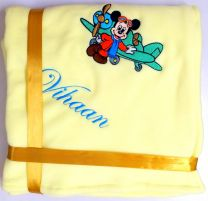 Mickey with Plane Luxury Personalised Kids AC Blanket