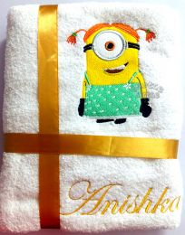 Girl Minion Personalised Luxury Towel