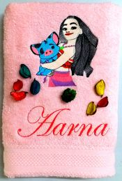 Princess Moana with Pig Friend Personalised Luxury Towel