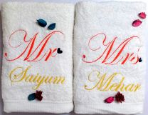 Mr & Mrss with Heart Punctuations Couple Set