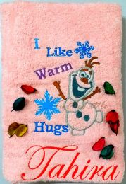 Olaf, Princess Elsa's friend from Frozen, Personalised Luxury Towel
