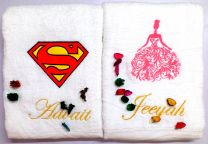 Superman Logo & Lady in Pink Couple Set